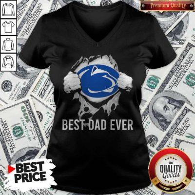 Nice Blood Inside Me Pennsylvania Nittany Lions Best Dad Ever V-neck