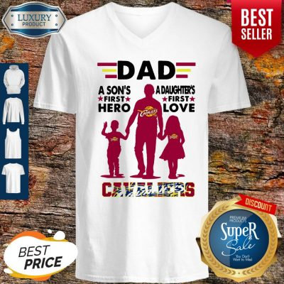 Nice Dad A Son's First Hero A Daughters First Love Cavaliers V-neck