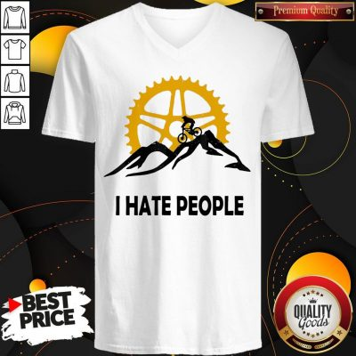 Nice I Hate People Mountain Biking V-neck