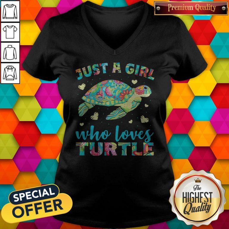 Nice Just A Girl Who Loves Turtle Color V-neck