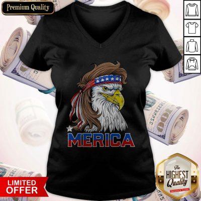 Nice Merica Eagle Happy Independence Day V-neck