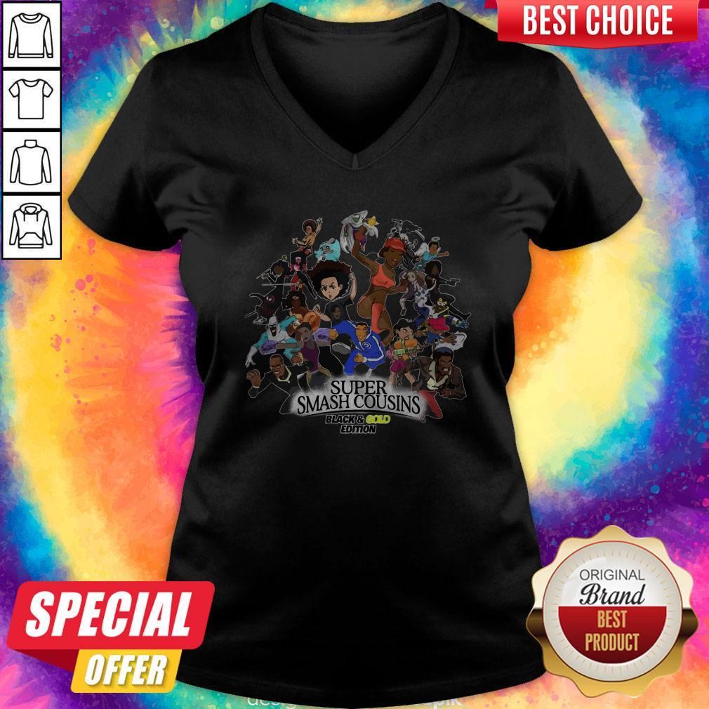 Nice Super Smash Cousins Black And Gold Edition V-neck
