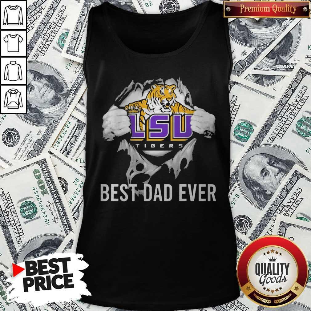 Premium Blood Inside Me LSU Tigers Football Best Dad Ever Tank Top