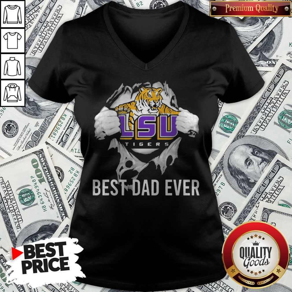 Premium Blood Inside Me LSU Tigers Football Best Dad Ever V-neck