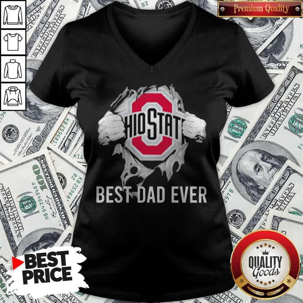 Premium Blood Inside Me Ohio State Best Dad Ever V-neck
