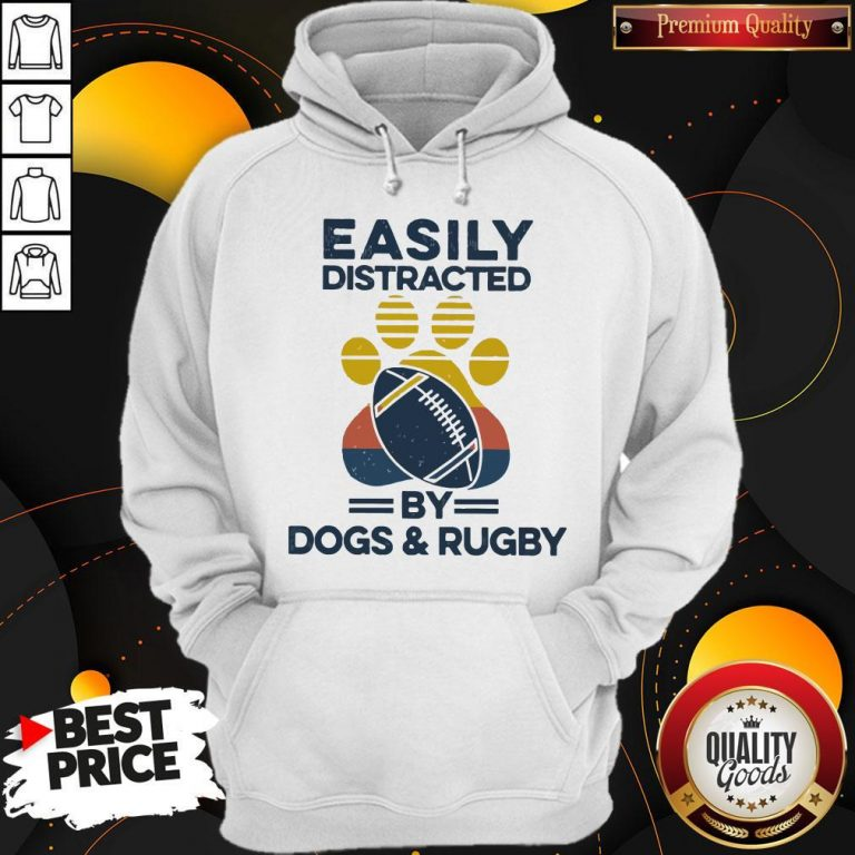 Premium Easily Distracted By Dogs And Rugby Vintage Hoodie