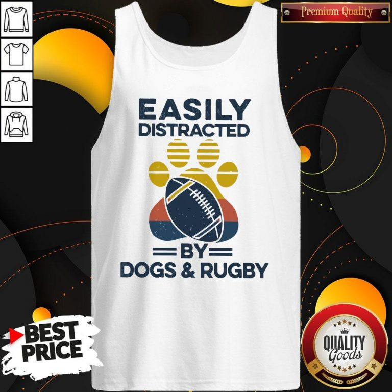 Premium Easily Distracted By Dogs And Rugby Vintage Tank Top