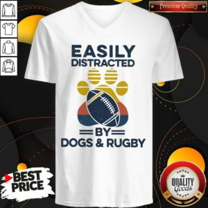 Premium Easily Distracted By Dogs And Rugby Vintage V-neck