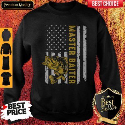 Premium Fishing Master Baiter American Flag Independence Day Sweatshirt