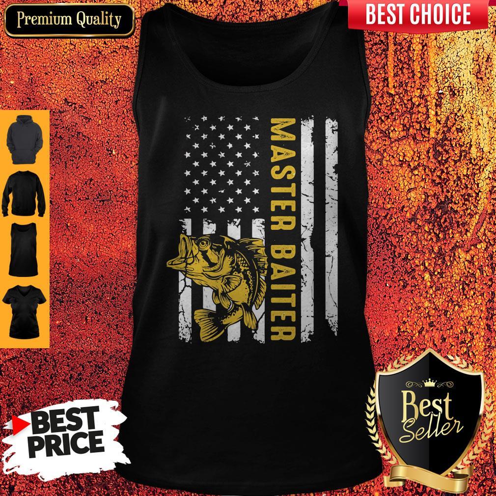 Premium Fishing Master Baiter American Flag Independence Day Tank Top