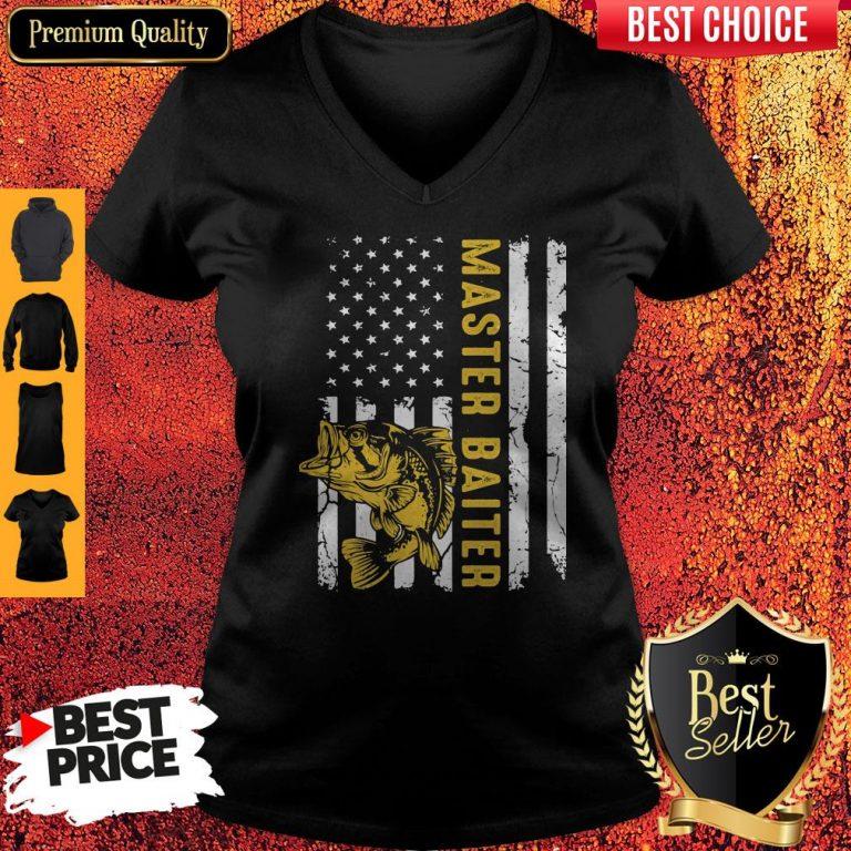 Premium Fishing Master Baiter American Flag Independence Day V-neck