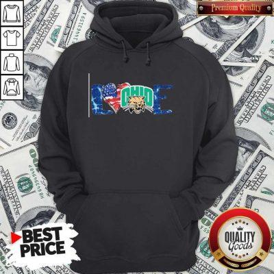Premium I Love Ohio Bobcats Football American Flag Hoodie
