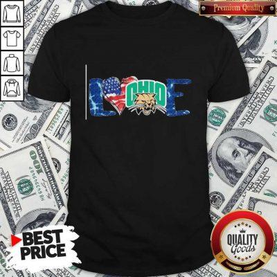 Premium I Love Ohio Bobcats Football American Flag Shirt