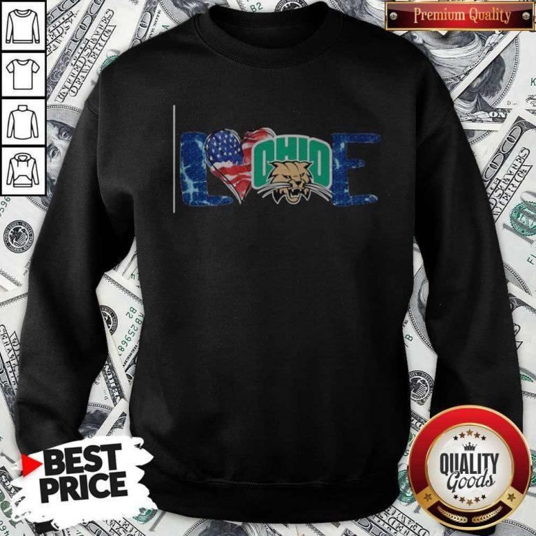 Premium I Love Ohio Bobcats Football American Flag Sweatshirt