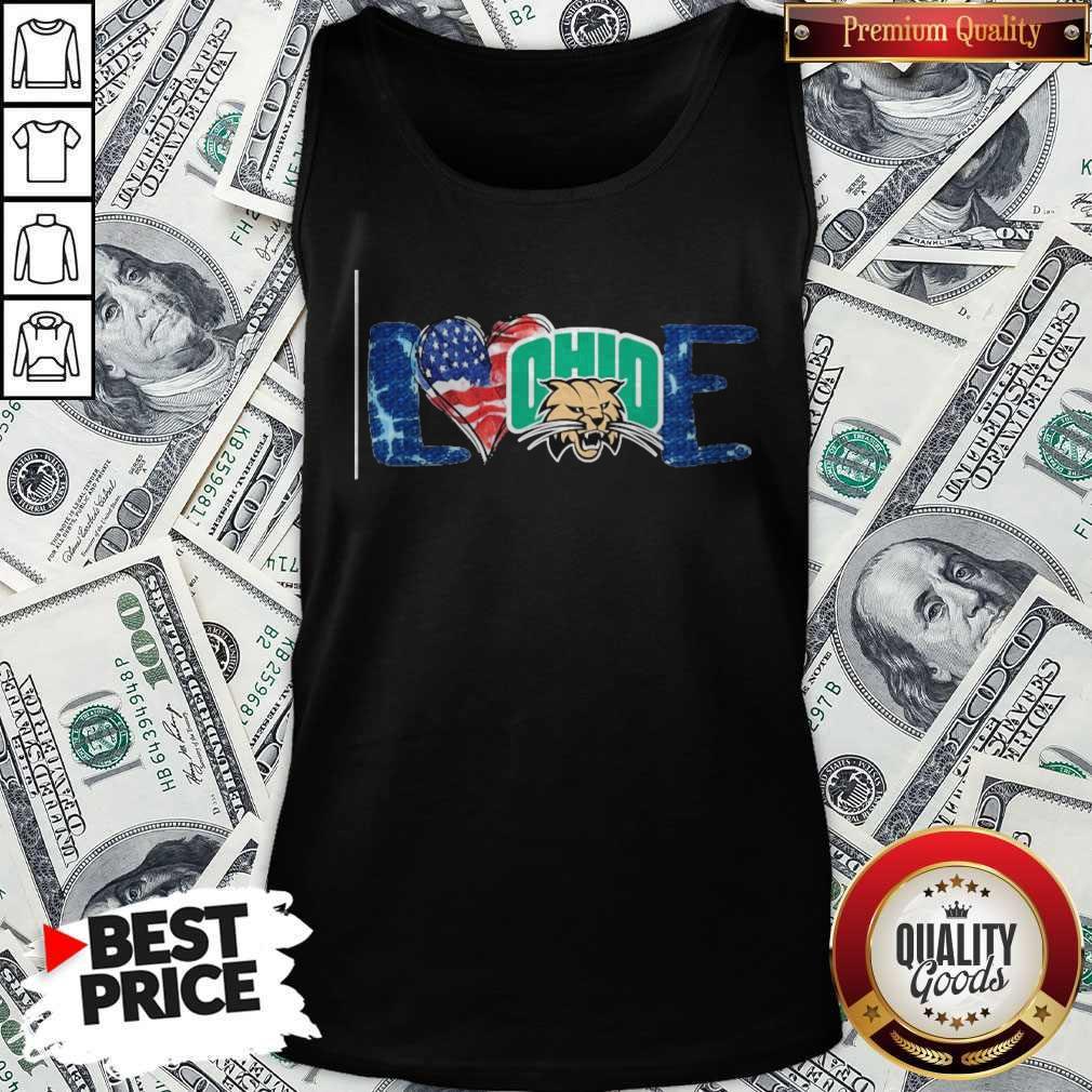 Premium I Love Ohio Bobcats Football American Flag Tank Top