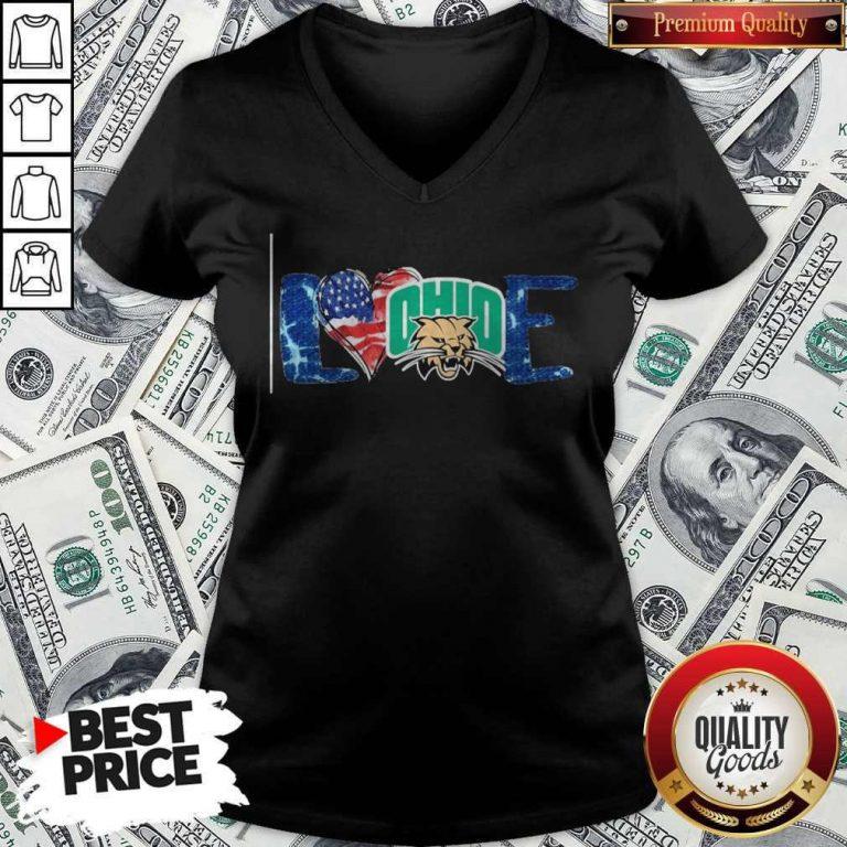 Premium I Love Ohio Bobcats Football American Flag V-neck