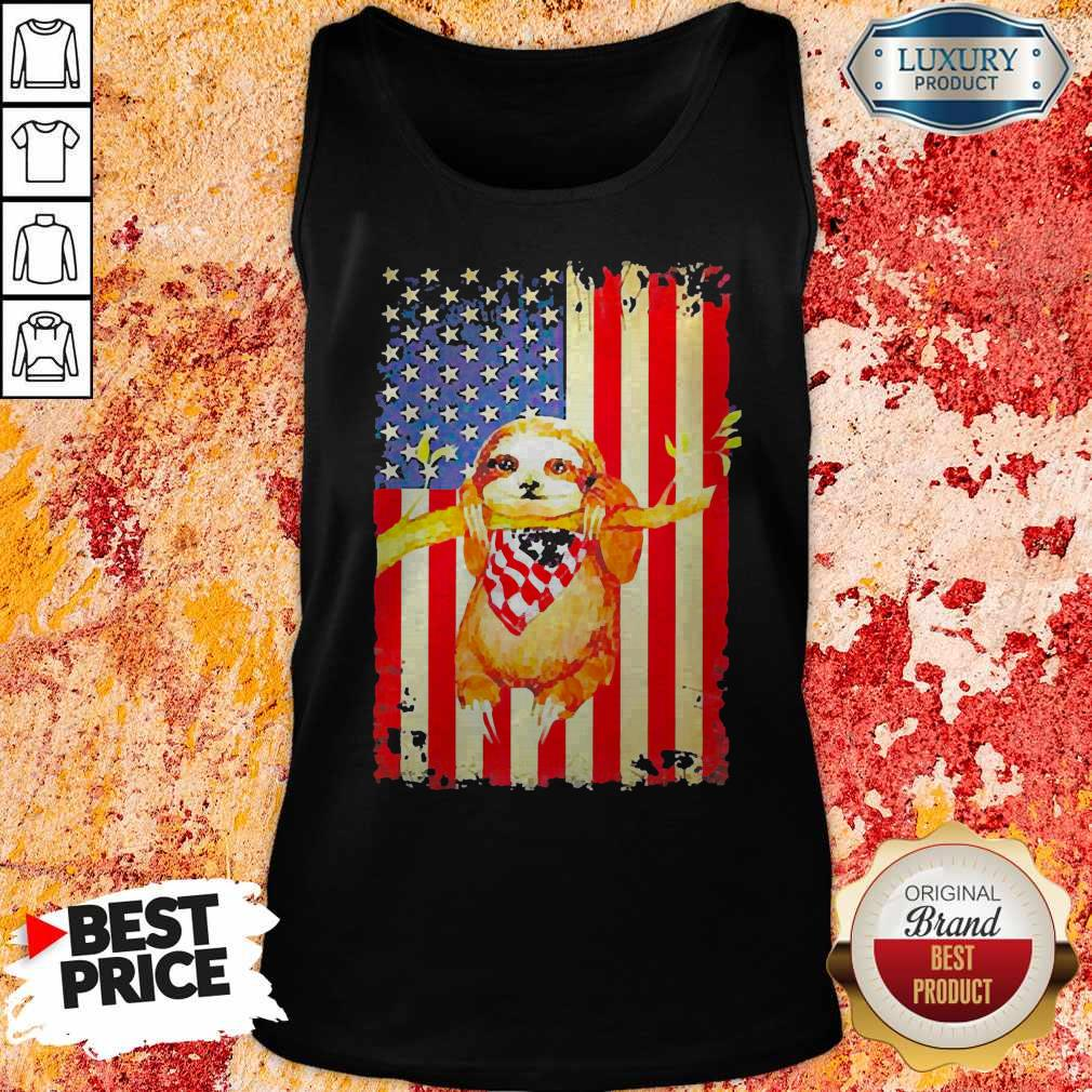 Premium Independence Day Sloth Tank Top