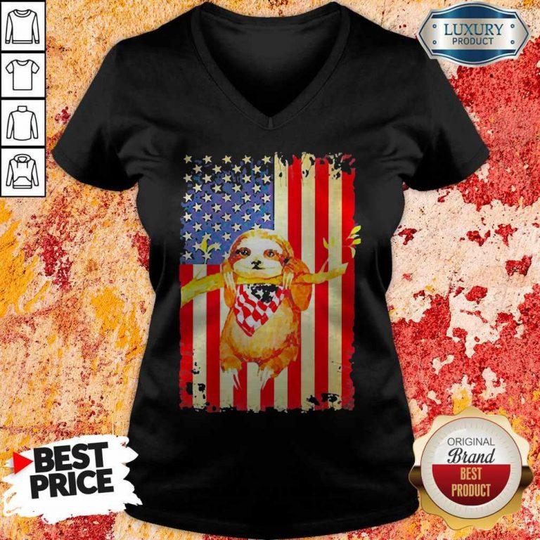 Premium Independence Day Sloth V-neck