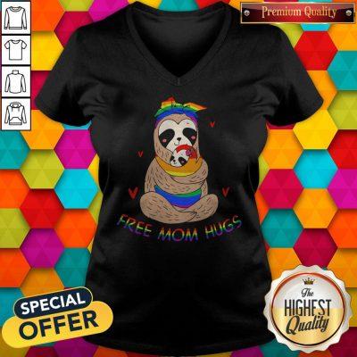 Premium LGBT Sloth Free Mom Hugs V-neck