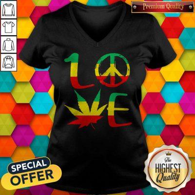 Premium Love Marijuana Leaf LGBT V-neck