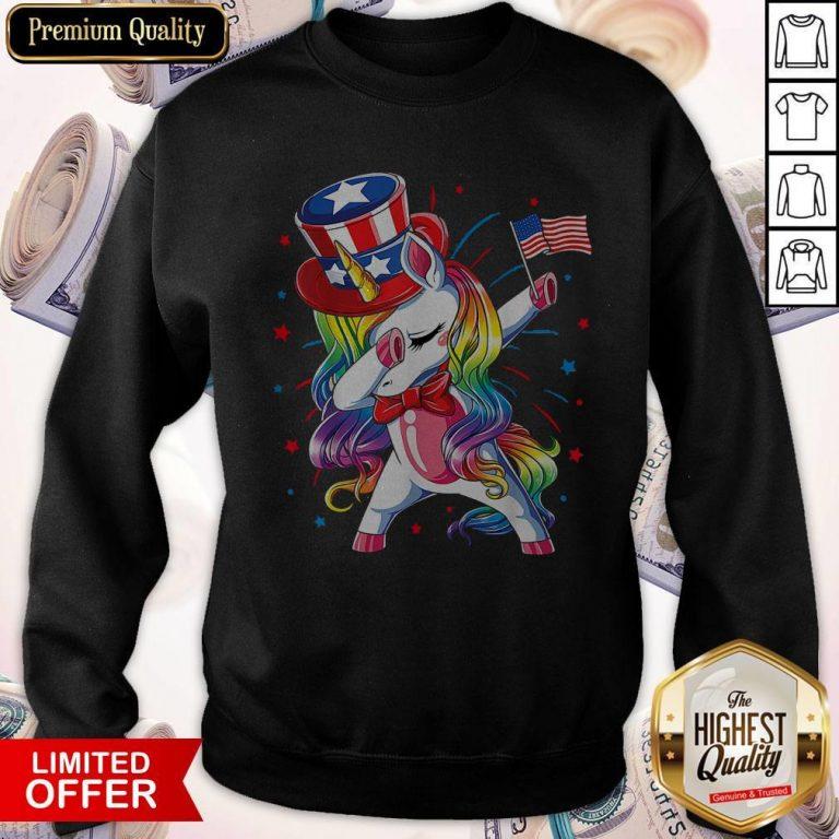 Premium Unicorn Dabbing Happy Independence Day Sweatshirt