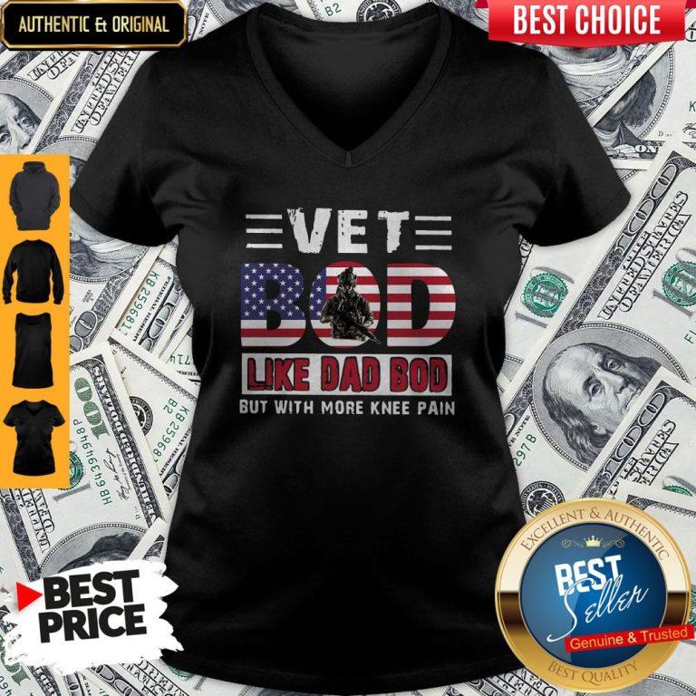 Premium Vet Bod Like Dad Bod But With More Knee Pain American Flag V-neck