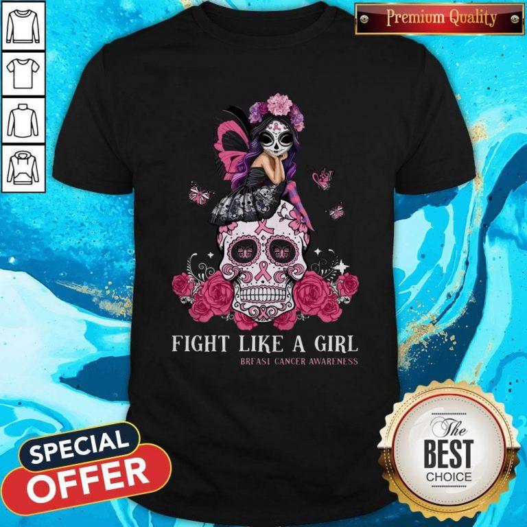 Top Awareness Sugar Skull Fight Like A Girl Breast Cancer Awareness Shirt