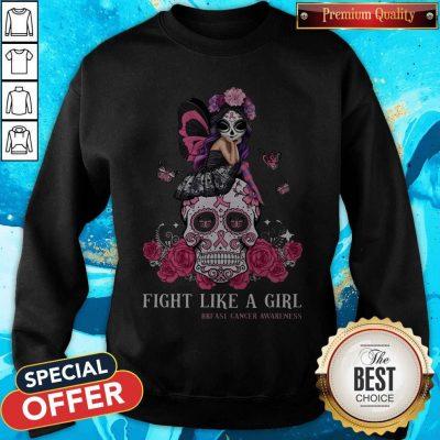 Top Awareness Sugar Skull Fight Like A Girl Breast Cancer Awareness Sweatshirt