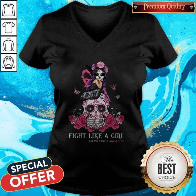Top Awareness Sugar Skull Fight Like A Girl Breast Cancer Awareness V-neck