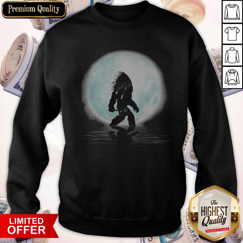 Top Bigfoot American Native Under The Moon Sweatshirt