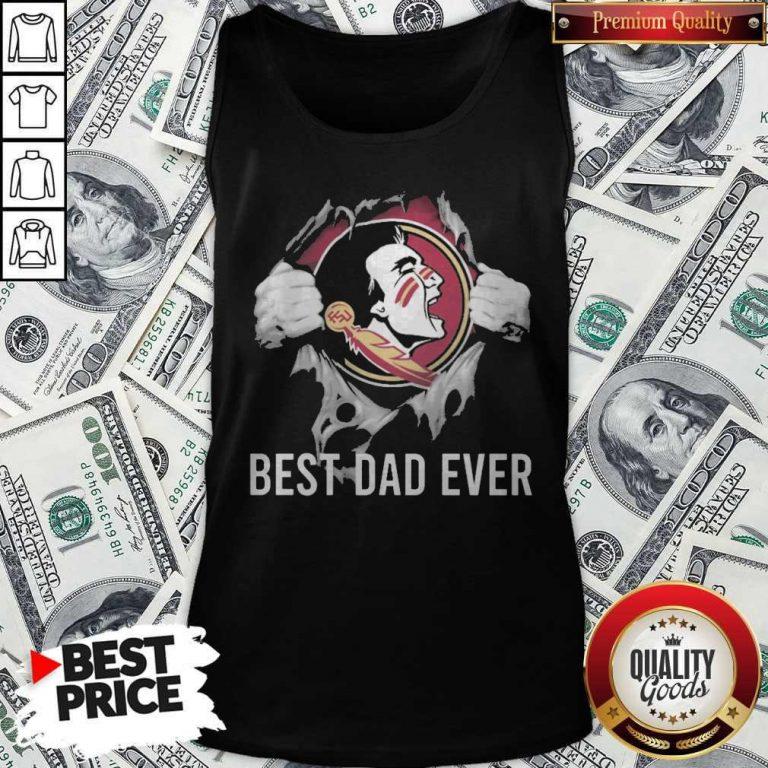 Top Blood Inside Me Florida State Seminoles Football Best Dad Ever Tank Top