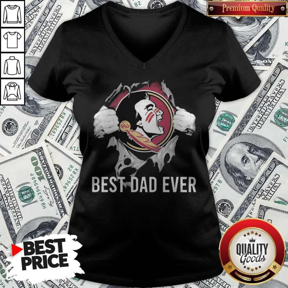 Top Blood Inside Me Florida State Seminoles Football Best Dad Ever V-neck