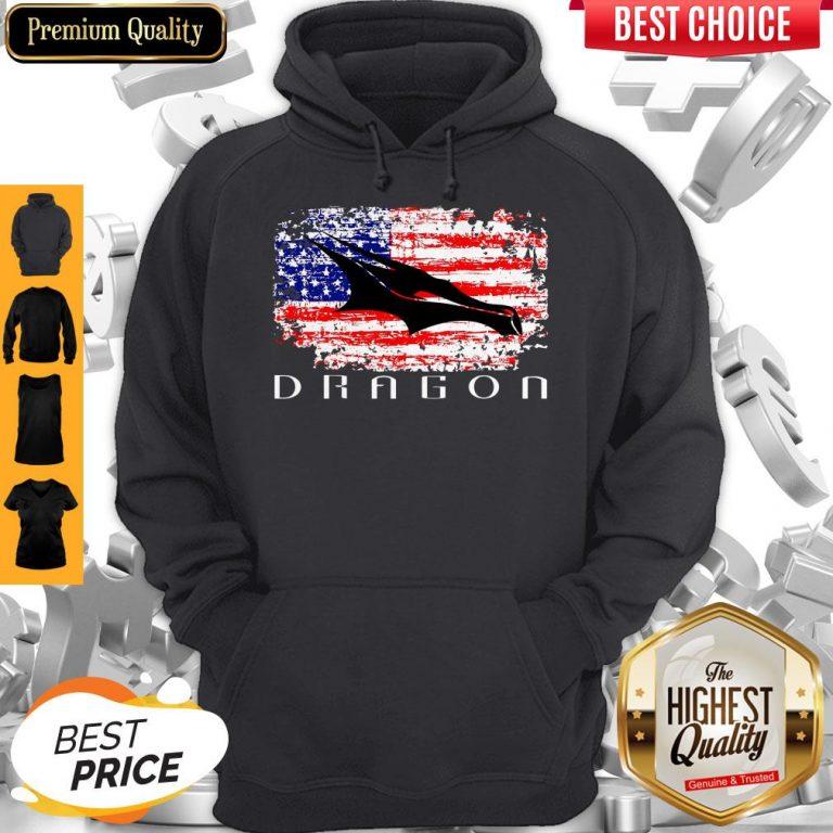 Top Dragon Space American Flag Vintage Hoodie