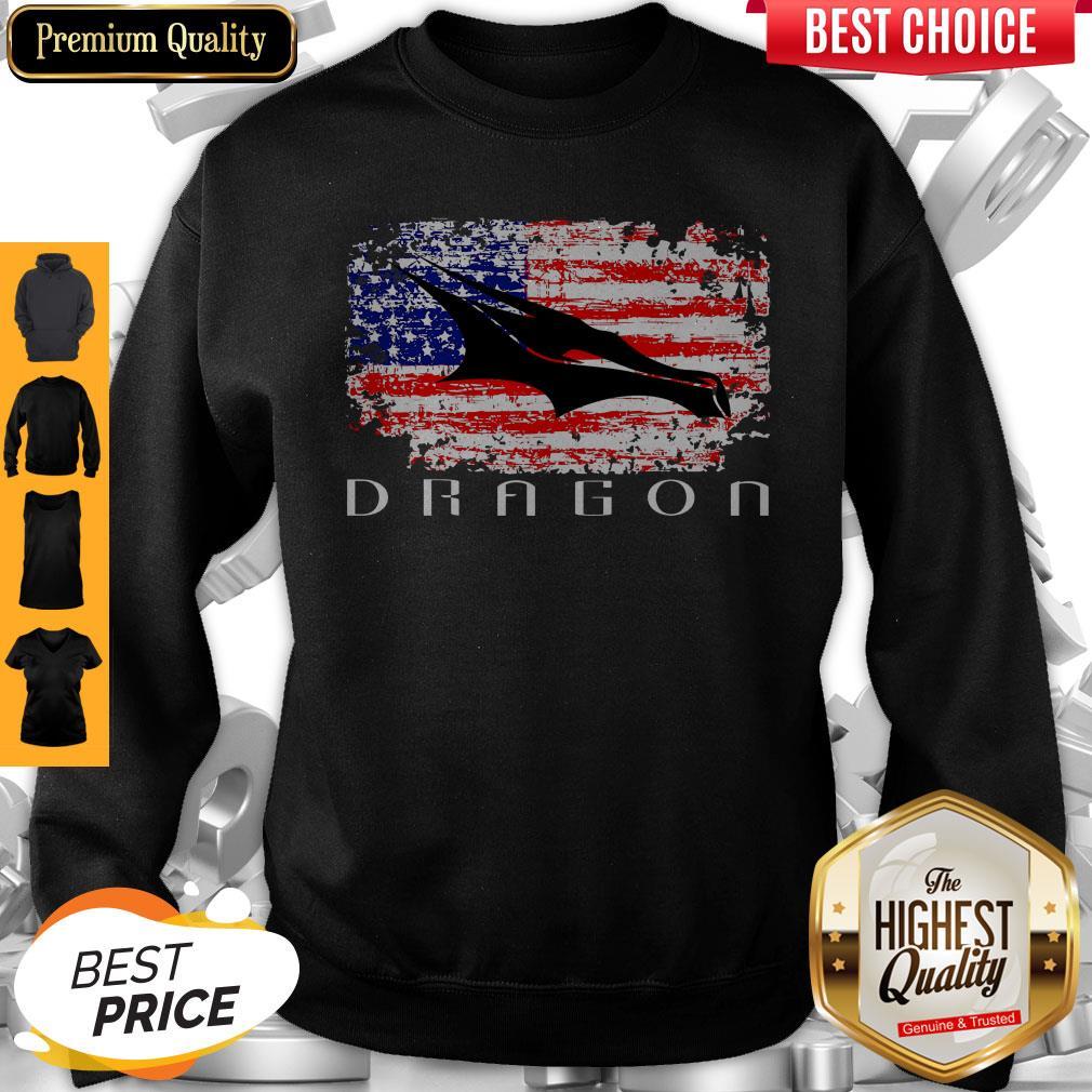 Top Dragon Space American Flag Vintage Sweatshirt