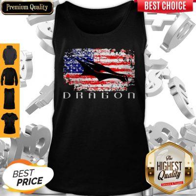 Top Dragon Space American Flag Vintage Tank Top