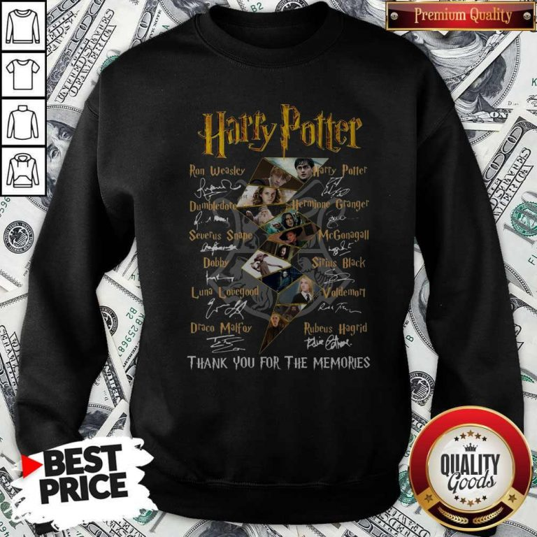 Top Harry Potter Character Thank You For The Memories Signature Sweatshirt
