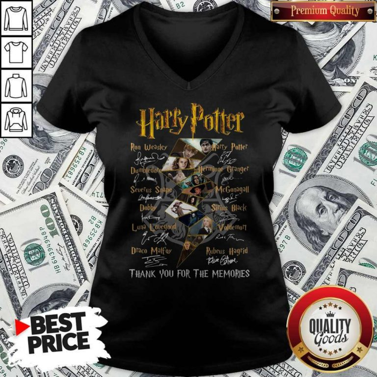 Top Harry Potter Character Thank You For The Memories Signature V-neck
