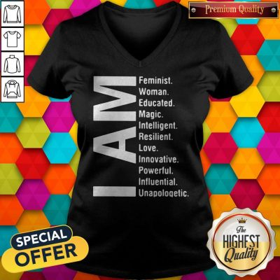 Top I Am Feminist Woman Educated Magic Intelligent V-neck
