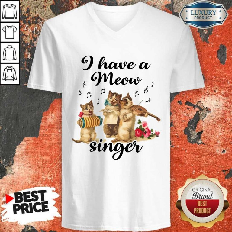 Top I Have A Meow Singer V-neck
