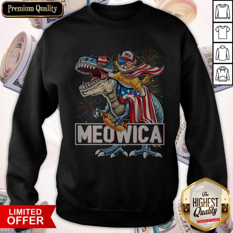 Top Meowica Amerisaurus Rex Happy Independence Day Sweatshirt