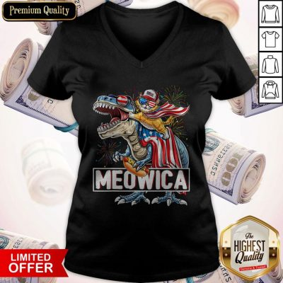 Top Meowica Amerisaurus Rex Happy Independence Day V-neck