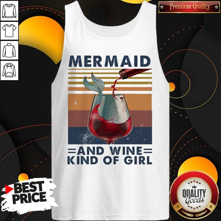 Top Mermaid And Wine Kind Of Girl Vintage Tank Top