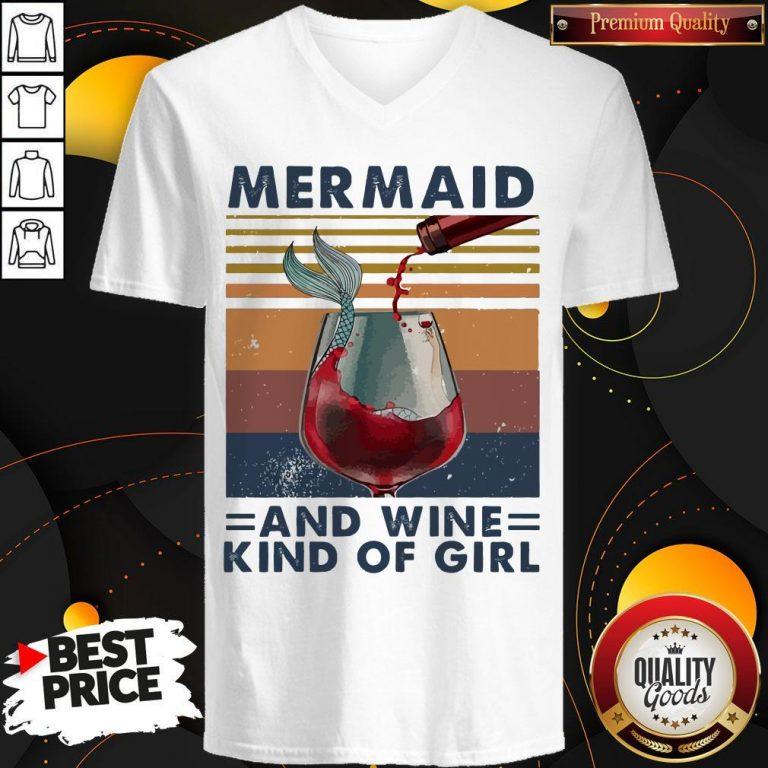 Top Mermaid And Wine Kind Of Girl Vintage V-neck