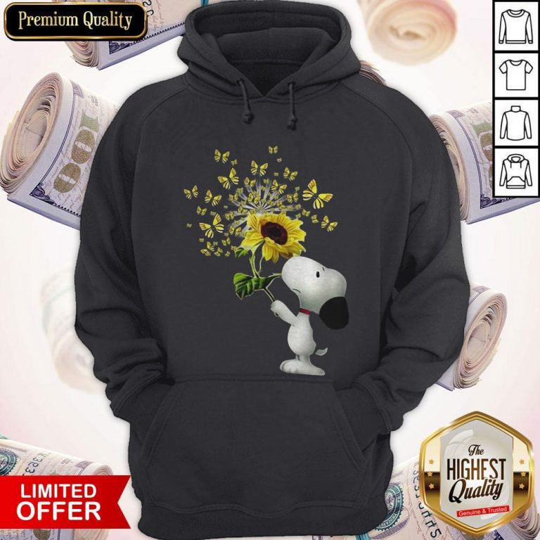 Top Snoopy Sunflower And Butterfly Hoodie