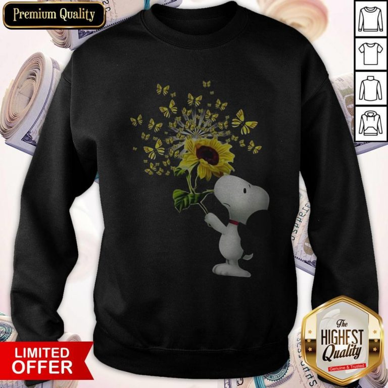 Top Snoopy Sunflower And Butterfly Sweatshirt