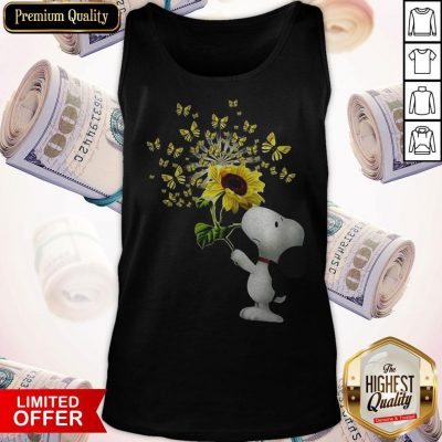Top Snoopy Sunflower And Butterfly Tank Top