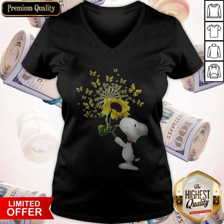 Top Snoopy Sunflower And Butterfly V-neck