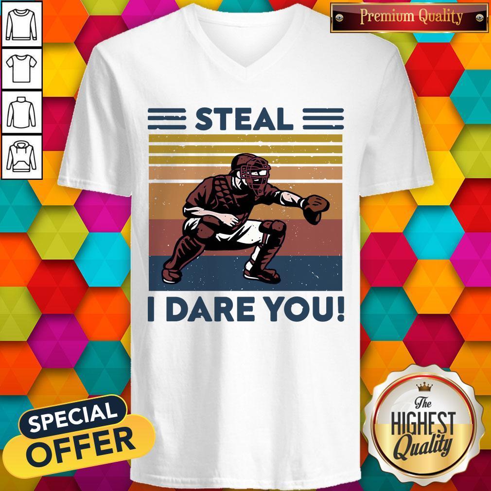 Awesome Baseball Steal I Dare You Vintage V-neck