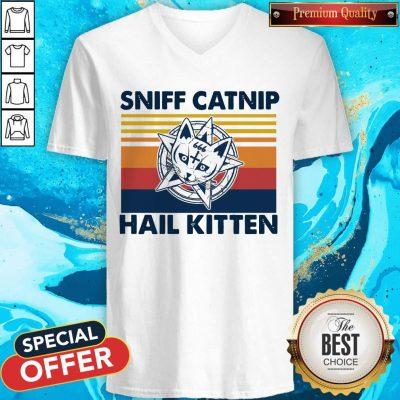 Awesome Sniff Catnip Hail Kitten Vintage V-neck