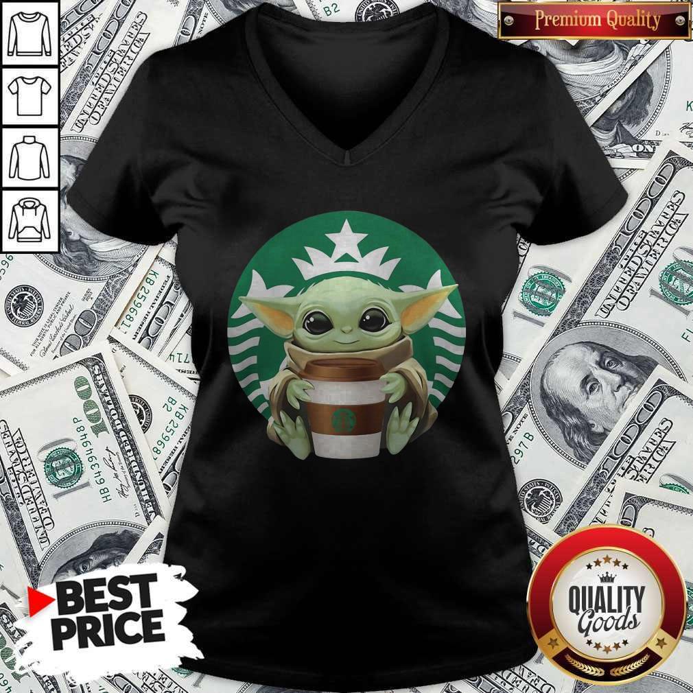 Cute Baby Yoda Hug Starbucks V-neck